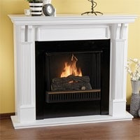 White Ventless Gel Fireplace